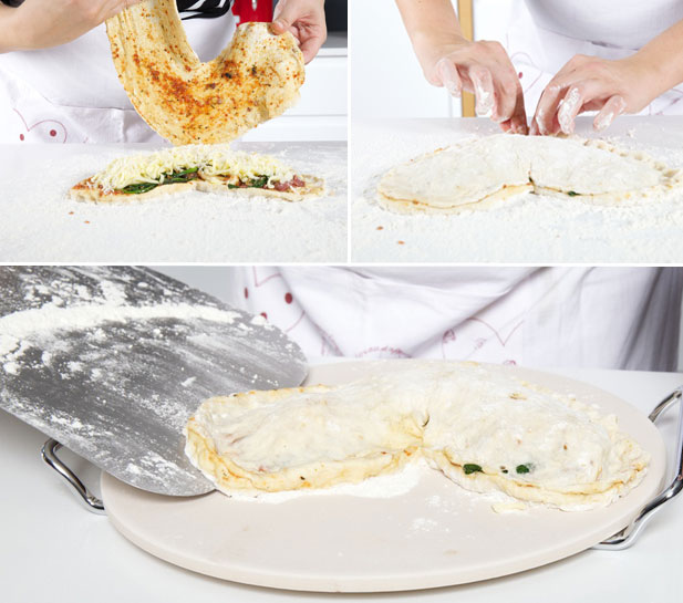 Finishing off your heart shape calzone
