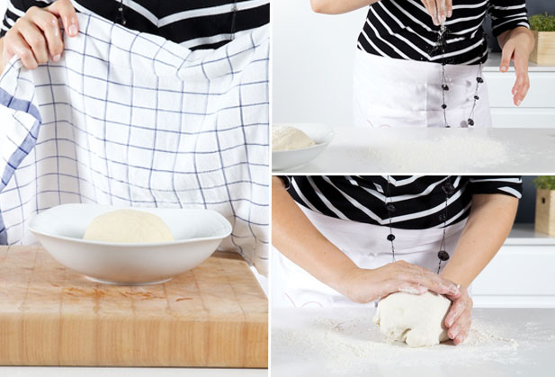 Rolling and kneading the rested dough