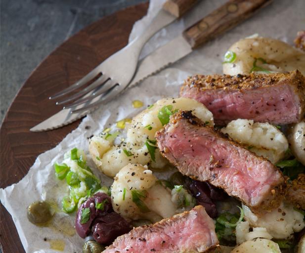 Rubbed sirloin and potato salad