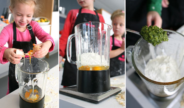Minichefs busy with optional blender step of homemade pasta