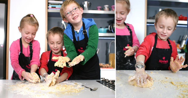 Minichefs busy with step 4 of homemade pasta