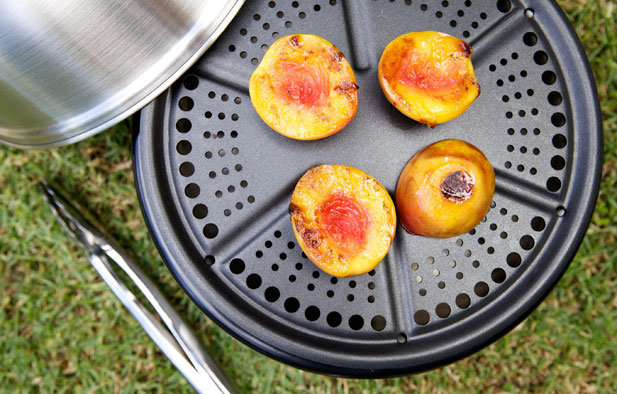 Cooking nectarines outdoor