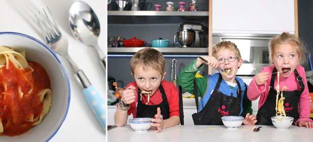 Minichefs enjoying step 10 of homemade pasta