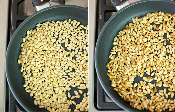 Pine nuts roasting for basil pesto