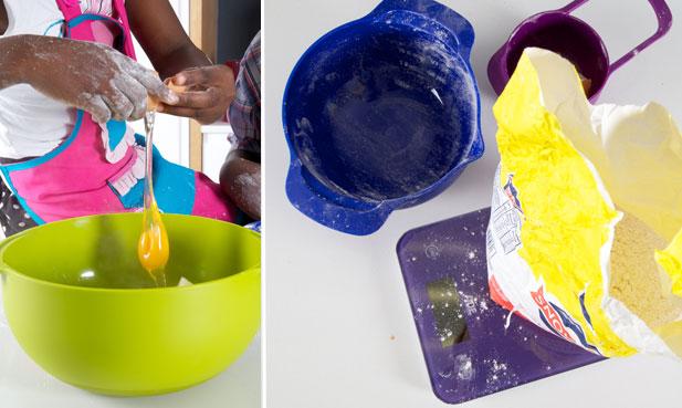 Adding egg and flour to gnocchi