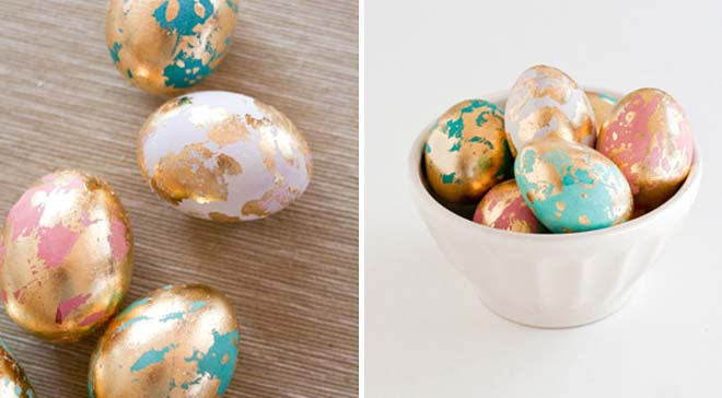 Gold marbled eggs