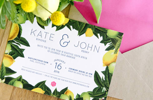 Citrus Burst Wedding Stationery by White Kite Studio