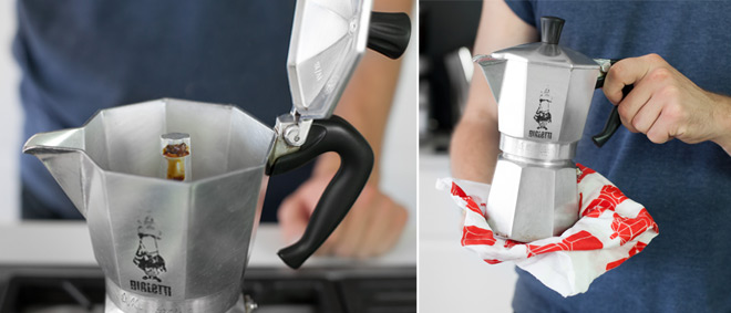 extracting coffee in the moka pot