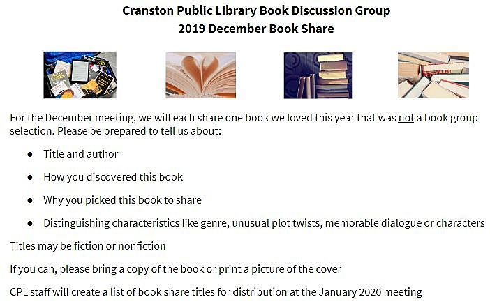 Cranston Public Library Book Discussion Group 2019 Book Share