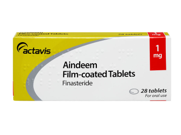 28 pack of Aindeem 1mg film-coated finasteride oral tablets