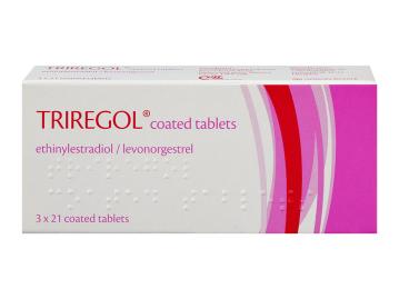 Pack of 63 Triregol ethinylestradiol/levonorgestrel coated tablets