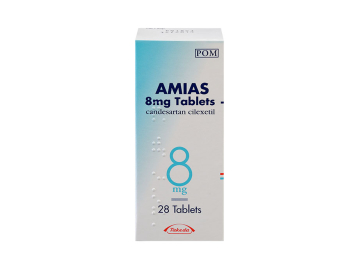 Pack of 28 Amias 8mg candesartan cilexetil tablets