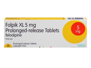 28 pack of Folpik XL 5mg felodipine prolonged-release oral tablets
