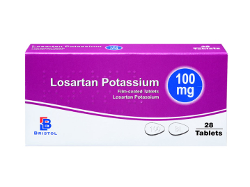 28 pack of 100mg film-coated losartan potassium tablets