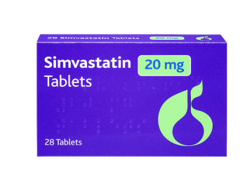 Pack of 28 simvastatin 20mg tablets