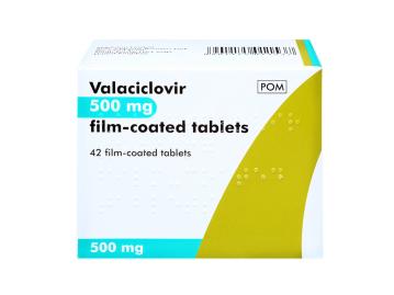 42 pack of valaciclovir 500mg film-coated tablets
