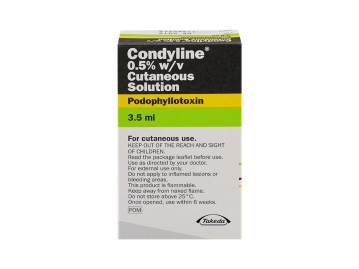 Pack of 1 3.5ml tube of condyline 0.5% w/v cutaneous solution of podophyllotoxin