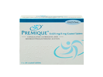 84 pack of Premique 0.625/5mg conjugated estrogens/medroxyprogesterone acetate coated tablets