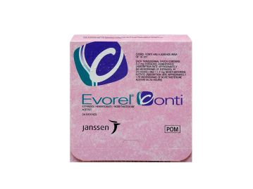 Pack of 24 Evorel Conti 3.2/11.2mg estradiol hemihydrate/norethisterone acetate patches