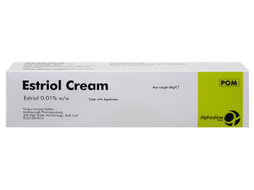 Pack of 1 80g tube of estriol 0.01% w/w cream with applicator