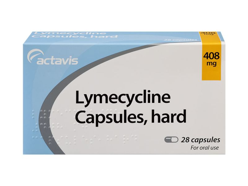 Front of packet containing 28 hard capsules of 408mg Lymecycline