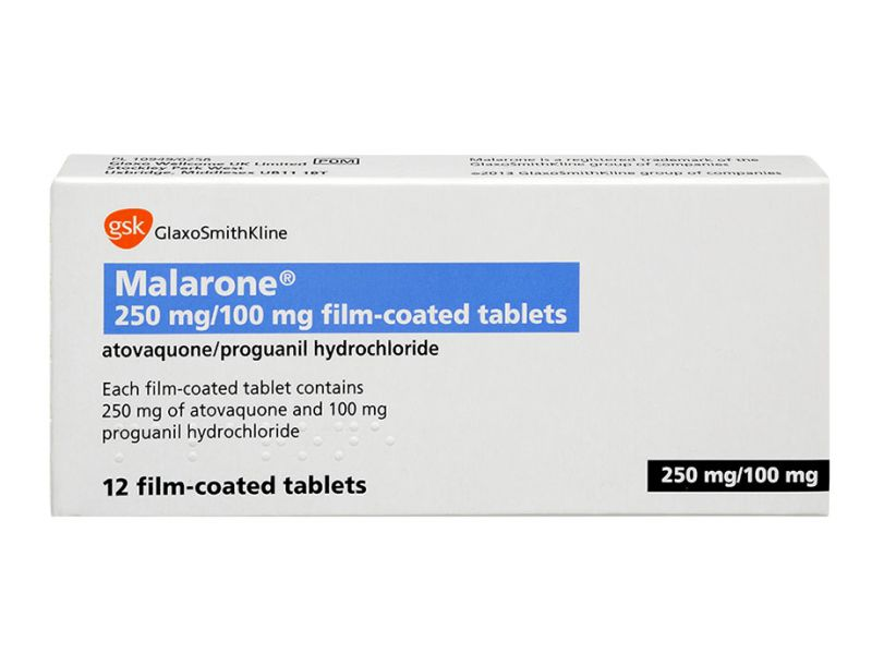 Pack of 12 Malarone 250mg atovaquone 100mg proguanil hydrochloride film-coated tablets