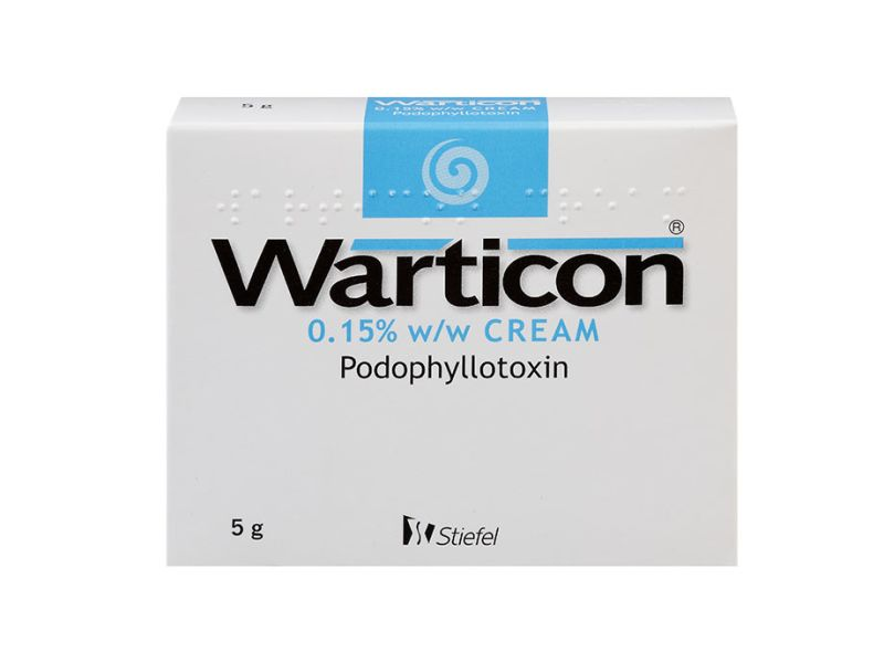 Pack of 1 5g 0.15% w/w podophyllotoxin Warticon cream