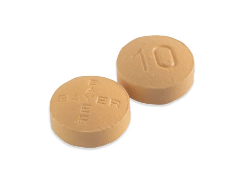 Two yellow 10mg film-coated tablets of Levitra
