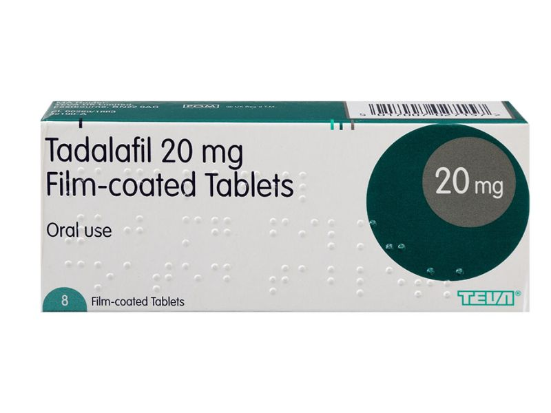 Packet containing eight 20mg film-coated tablets of Tadalafil