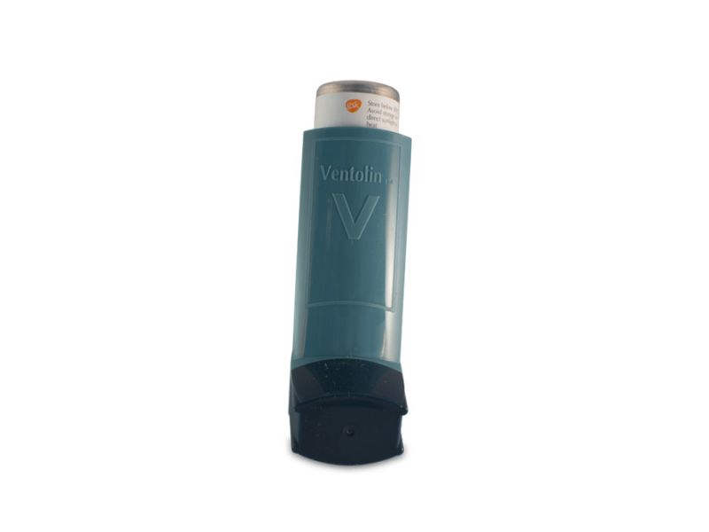 close up image of ventolin inhaler