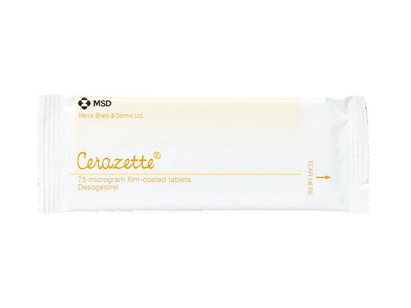 Packaged blister packet of 75mg Cerazette pills