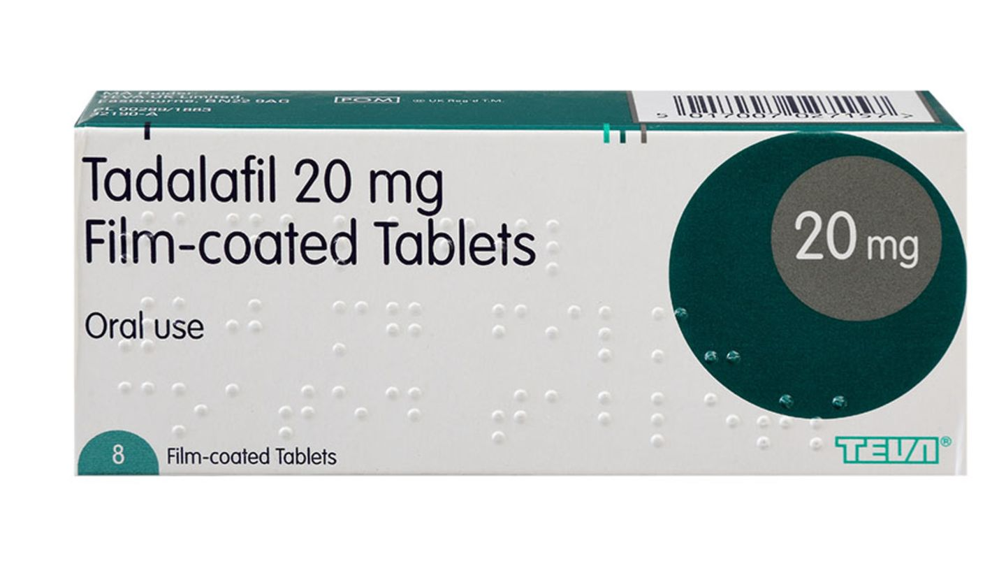 Pack of 8 20mg tadalafil film-coated tablets that could cause tadalafil side effects