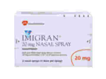 Pack of 2 single dose Imigran nasal sprays with 0.1ml aqueous 20mg sumatriptan solution
