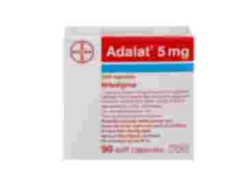 Pack of 90 Adalat 5mg nifedipine soft capsules