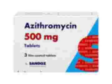 Packet containing three 500mg film-coated tablets of Azithromycin