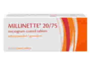 Pack of 63 Millinette 20/75µg ethinylestradiol/gestodene coated tablets