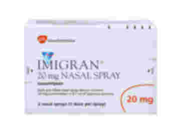 Pack of 2 single dose Imigran nasal sprays with 0.1ml aqueous 20mg sumatriptan solution