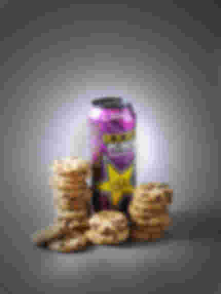 rockstar punched energy drink next to 20 maryland cookies