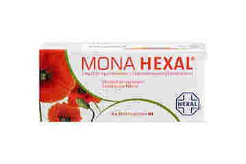 Vorderseite einer Packung MONA HEXAL 2 mg / 0,03 mg mit 6x21 Filmtabletten von HEXAL