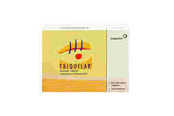 Vorderseite einer Packung Triquilar mit 6x21 Tabletten von Jenapharm