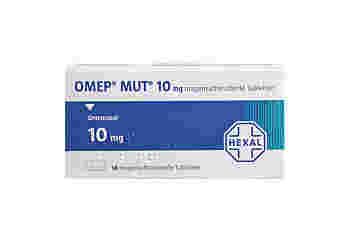 Vorderseite einer Packung OMEP MUT 10 mg mit 14 Tabletten von HEXAL