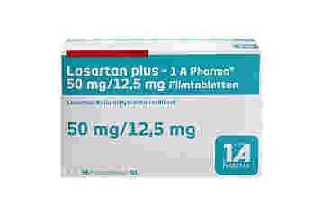 Vorderseite einer Packung Losartan plus 50 mg / 12,5 mg mit 98 Tabletten von 1A Pharma