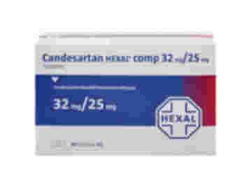 Vorderseite einer Packung Candesartan Hexal comp 32 mg/25 mg mit 98 Tabletten von Hexal