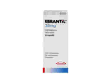 Vorderseite einer Packung Ebrantil 30 mg mit 50 Hartkapseln von Takeda