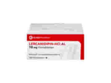 Vorderseite einer Packung Lercanidipin-HCl AL 10 mg mit 100 Filmtabletten von Aliud Pharma