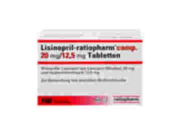 Vorderseite einer Packung Lisinopril-ratiopharm comp. 20 mg/12,5 mg mit 100 Tabletten von Ratiopharm