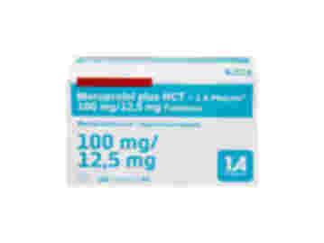 Vorderseite einer Packung Metoprolol plus HCT 100 mg/12,5 mg mit 100 Tabletten von 1 A Pharma