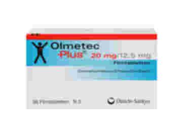 Vorderseite einer Packung Olmetec Plus 20 mg/12,5 mg mit 98 Tabletten von Daiichi-Sankyo