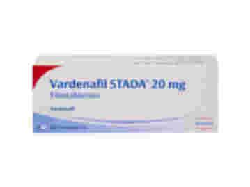 Vorderseite einer Packung Vardenafil STADA 20 mg mit 12 Filmtabletten