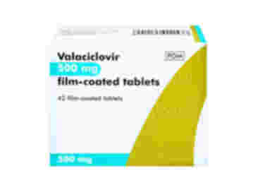 A packet of Valaciclovir 500mg film-coated tablets